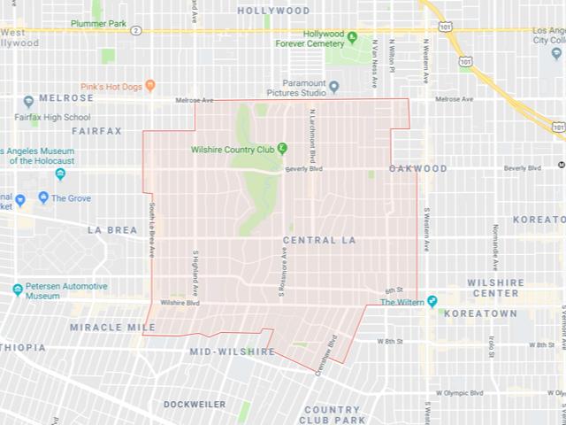 Hancock Park / Greater Wilshire  Superficie: 4.11 km2 Démographie: +10,671 habitants Prix moyen par Sq.Ft (1m2 = 10.76 Sq.Ft): -Maison Single Family: Q1 2018: $653 (Q1 2017: $696)