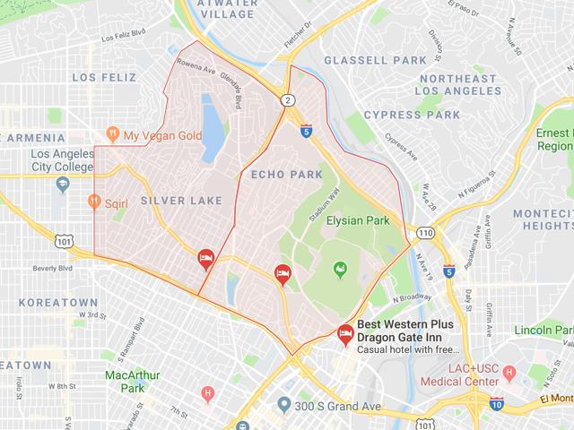 Silver Lake & Echo Park  Superficie: 7.12 km2 (Silver Lake) 6.21 km2 (Echo Pk) Démographie: +32,890 (Silver Lake) +43,832 (Echo Pk) Prix moyen par Sq.Ft (1m2 = 10.76 Sq.Ft): -Maison Single Family: Q1 2018: $716 (Q1 2017: $574)