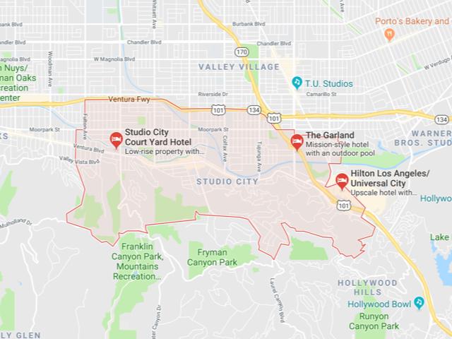 Studio City  Superficie: 16.34 km2 Démographie: +37,201 habitants Prix moyen par Sq.Ft (1m2 = 10.76 Sq.Ft): -Maison Single Family: Q1 2018: $624 (Q1 2017: $586) -Condo: Q1 2018: $509 (Q1 2017: $437)