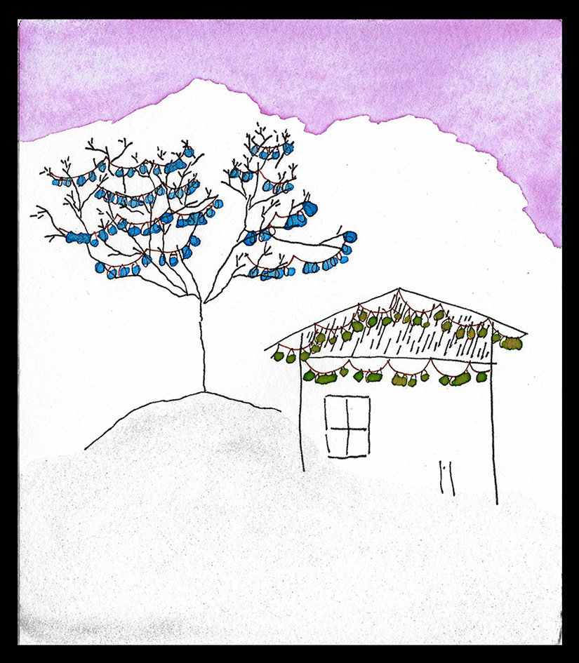 "House with Blue Tree, 6 x 5"", SOLD"