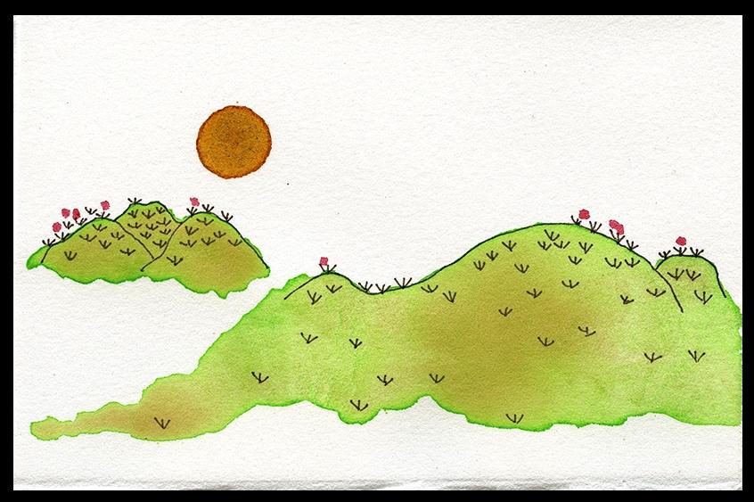 """Summer Sun, 3.75 x 5.5"""", SOLD"""