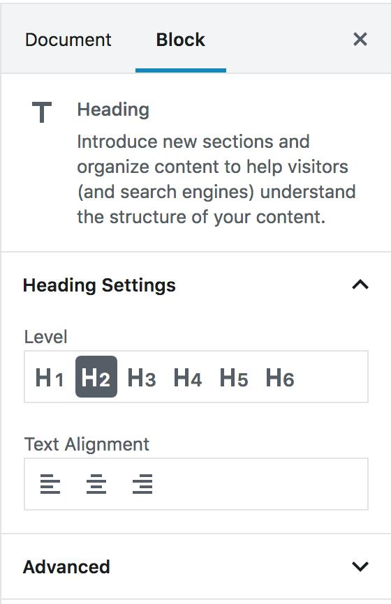 Wordpress Gutenberg Headings