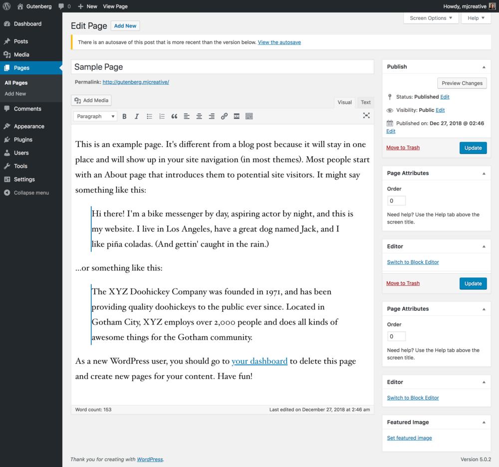 Classic Wordpress Editor