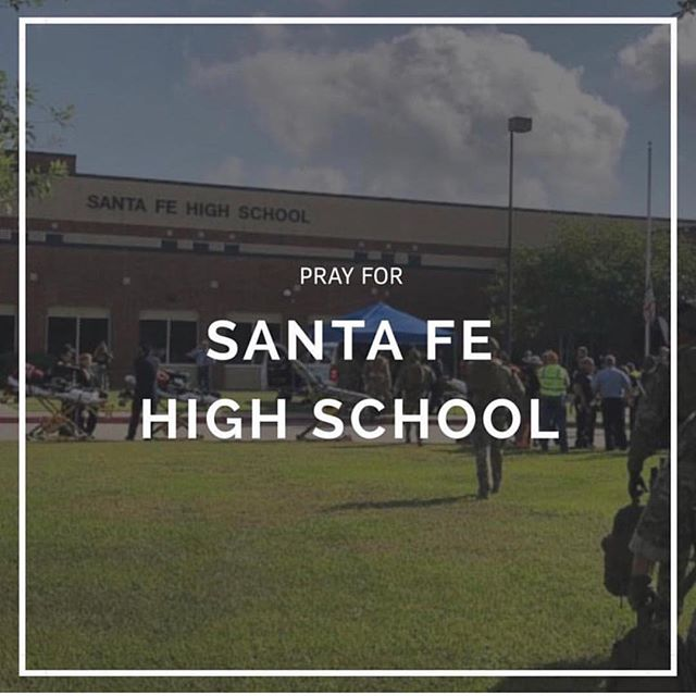 """My deepest sympathy for the families of slain students in Santa Fe.      Here are my """"thoughts and prayers"""".     Thoughts-we secured airports , we can secure schools to protect our children.     Prayers- that officials make the hard decisions that keep us from ever seeing this again! #prayforsantafe #texas"""