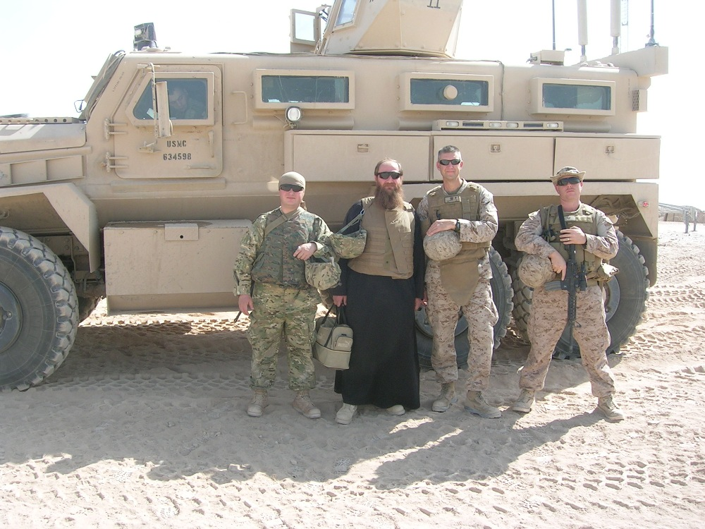 Fr Stephen Duesenberry with the Chaplain from the Georgian battalion that serves alongside US Marines in Afghanistan