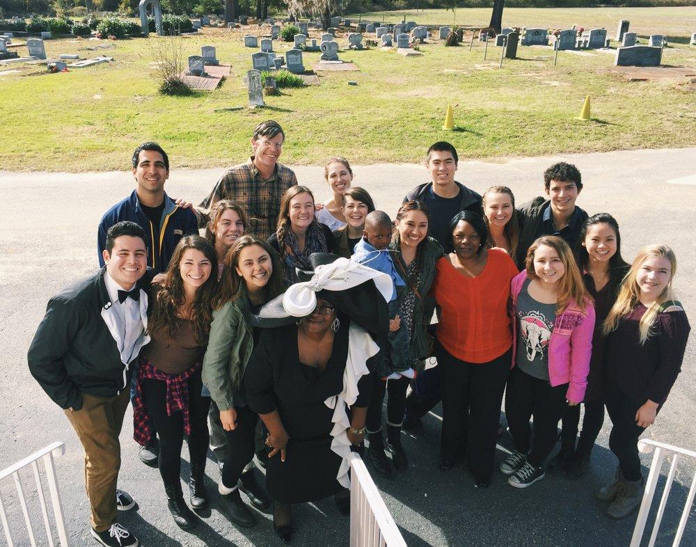 Volunteers from University of California Santa Barbara attend gospel church service in South Carolina