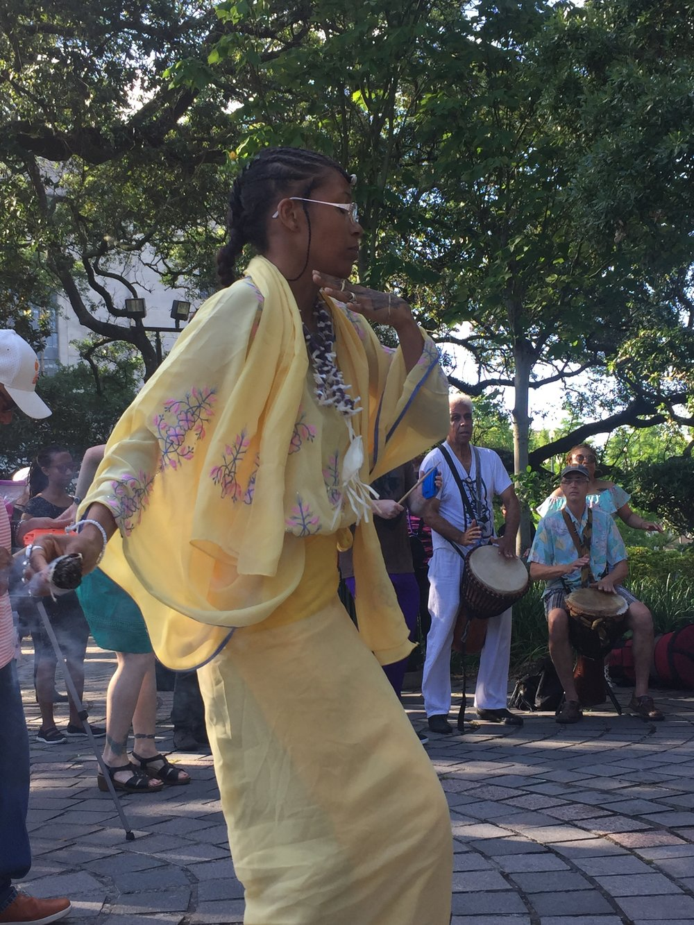 Every Sunday afternoon in Congo Square, New Orleans drummers and dancers still gather to carry on the 200 plus year tradition of gathering to drum and dance, giving roots to the tree of American music.