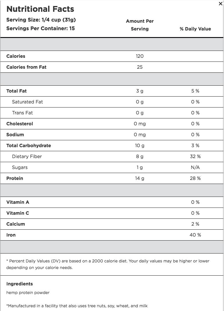 Hemp Nutritional information