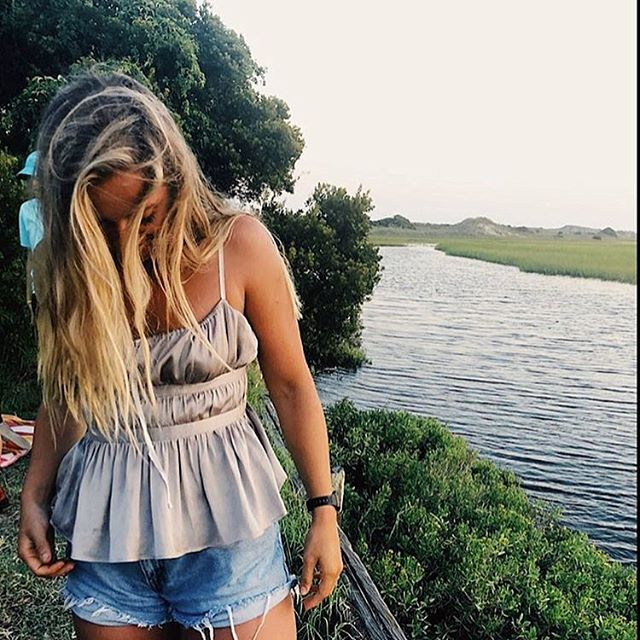 • @ershleyberd exploring in our top! thanks girl xoxo • keep tagging us in pics for a chance to be featured and receive a discount! #summer #thewearhouse #oceancitynj #lake