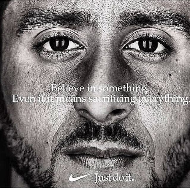 Believe in something even if it means sacrificing everything.  What does this mean to you? Do you stand for what you believe in or capitalism? Our culture is what makes America. #Nike#justdoit#kapernick