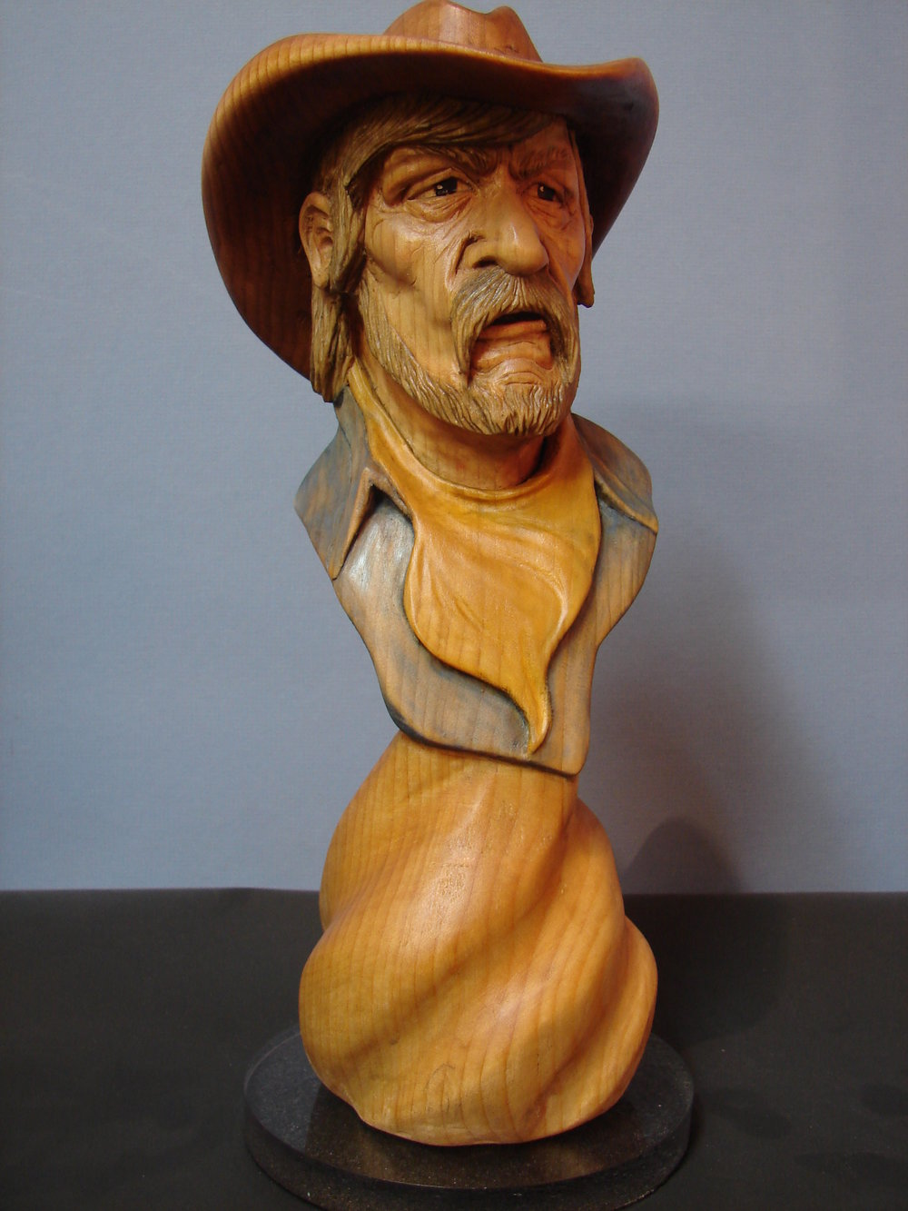 Cowboy bust (basswood)$40.00 each. Measures 12-inches x 4-inches x 4=inches. -