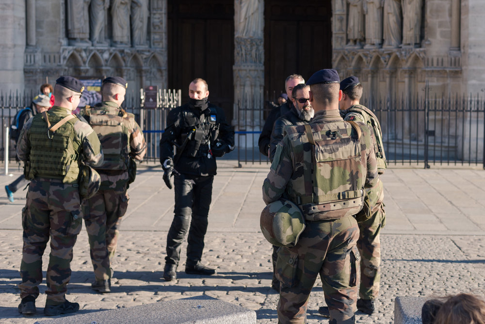 Security forces outside of Notre Dame
