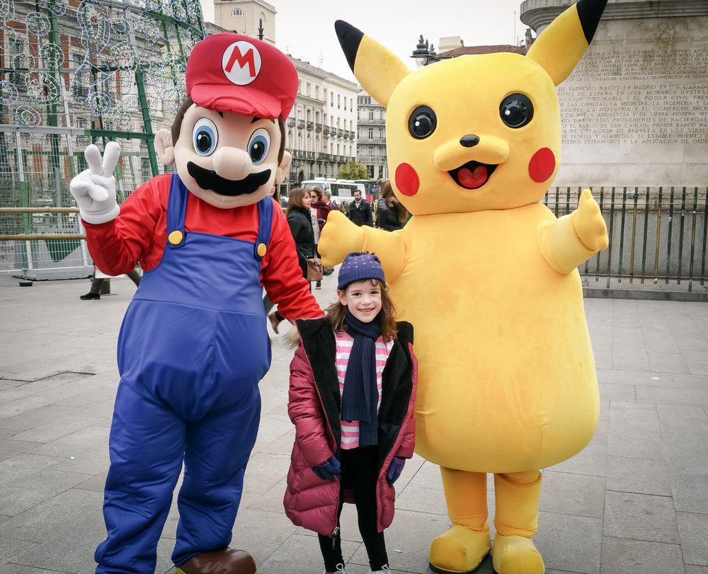 Luigi, Georgia & Pikachu in Puerto del Sol, Madrid
