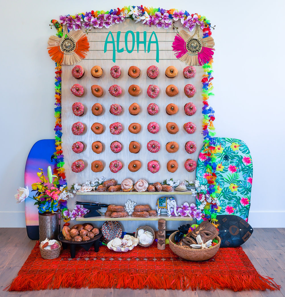 Aloha Luau Themed Donut Wall || Primo's Donuts Los Angeles
