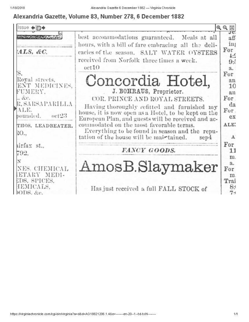 From Alexandria Gazette 12/6/1882  - an ad for the Concordia Hotel