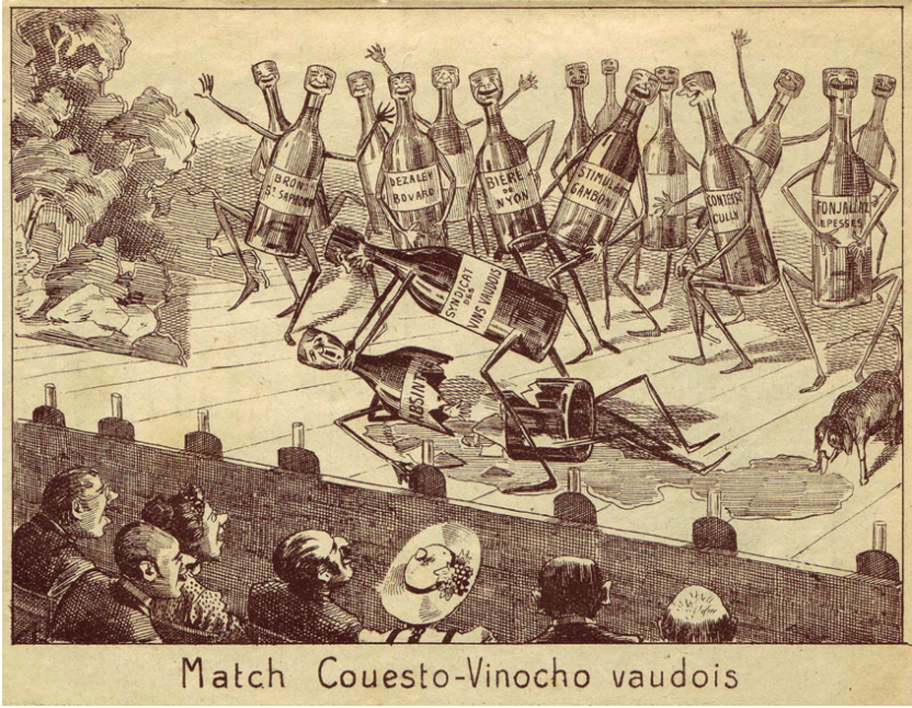 "Figure 2: Gantner, Albert. ""Match Couesto-Vinocho Vaudois.""  Le Guguss , 2 Jun. 1906."