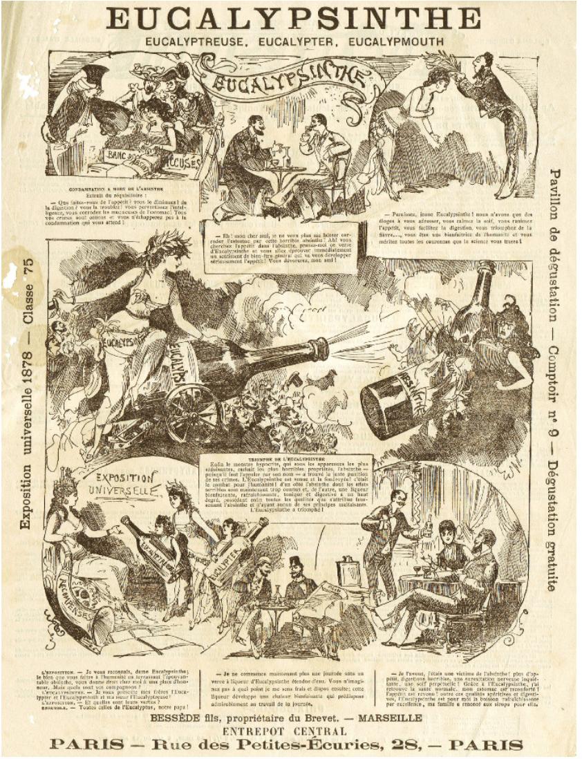 "Figure 5: Brevet, ""Eucalypsinthe for Exposition Universelle 1878."" Bessede Fils, 1878."