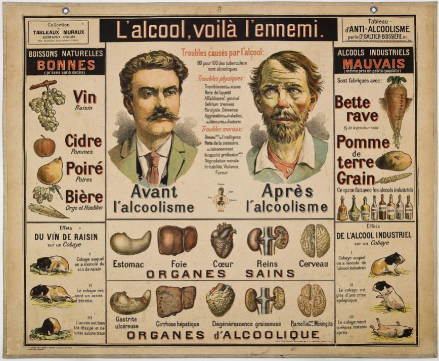 """Figure 4: Galtier-Boissiere, Dr. """"L'alcool, voila l'ennemi."""" Armand Colin, 1898."""