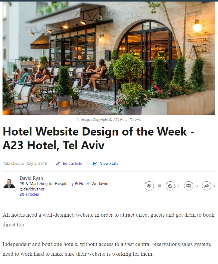 Hotel Website Design of the Week - A23 Hotel, Tel Aviv