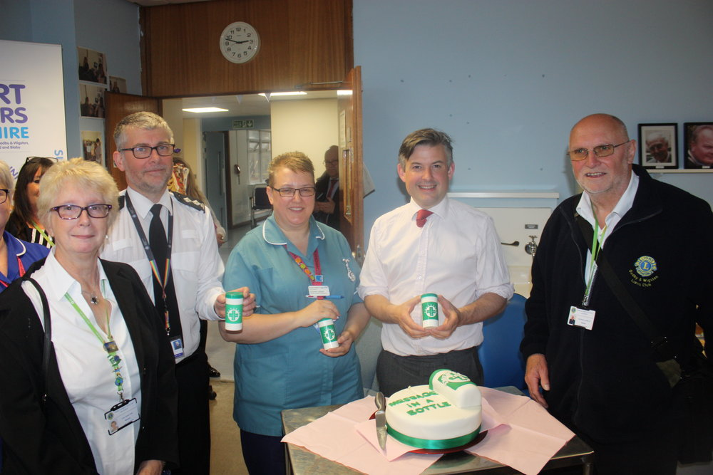 Jon, Labour MP for Leicester South, at the official launch of the 'Message in a Bottle' scheme as part of the Leicester Royal Infirmary's discharge procedures - Friday May 25 2018