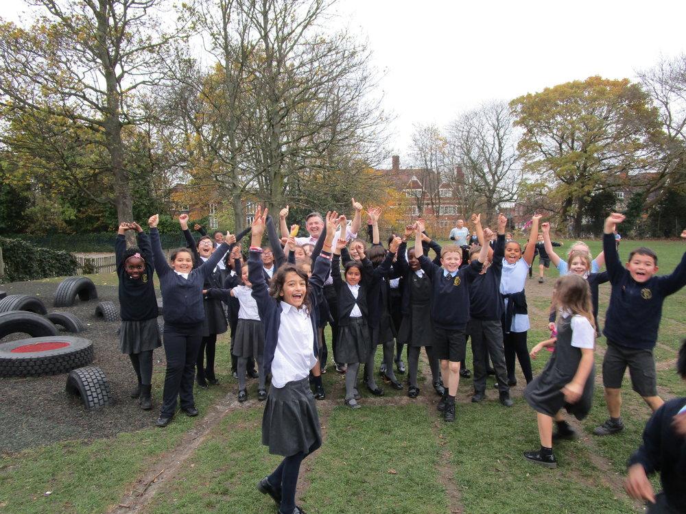 Jon Ashworth runs The Daily Mile with Year 4 Pupils at St John the Baptist Primary School - Friday November 9 2018