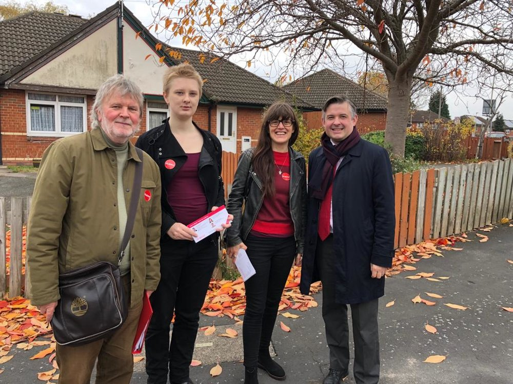 Jon and local Councillors Bill Shelton and Elly Cutkelvin out and about in Saffron Lane Estate today - Friday November 9 2018