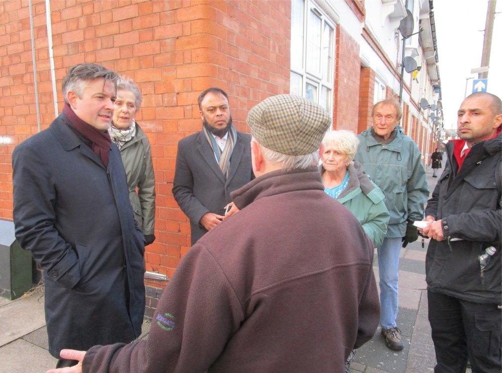 Jon Ashworth lead a Patch Walk to investigate anti-social behaviour in the Evington Road area - Friday November 30 2018