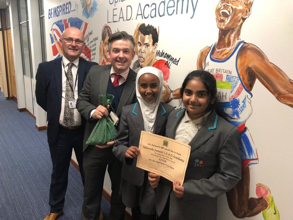Jon thanks Uplands Junior L.E.A.D Academy for raising nearly £300 for the Highfields Food Bank - Friday December 21 2018