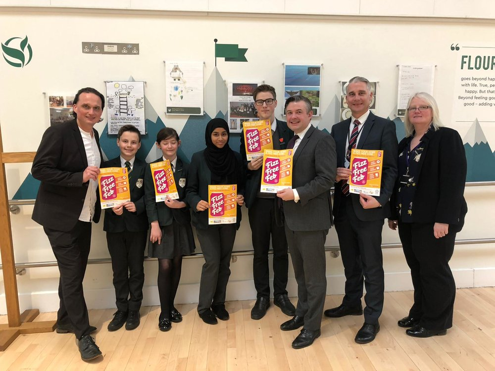 Jon and Councillor Clarke at Tudor Grange Samworth Academy as part of Fizz Free February - Friday February 8 2019