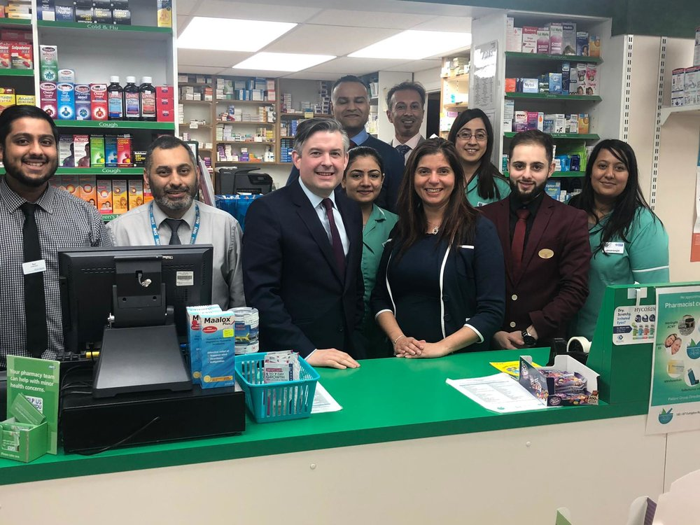 Jon visited Pear Chemist to hear first hand about the challenges facing community pharmacies - Friday March 8 2019