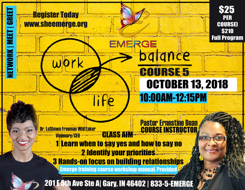 Course 5: Balance - Session Start Date: October 13, 2018Course Description: A Balanced Performance of everyday lifePresenter: Pastor Ernestine BeanLocation: 201 E 5th Ave Ste DTime: 10:00am-12:15pm