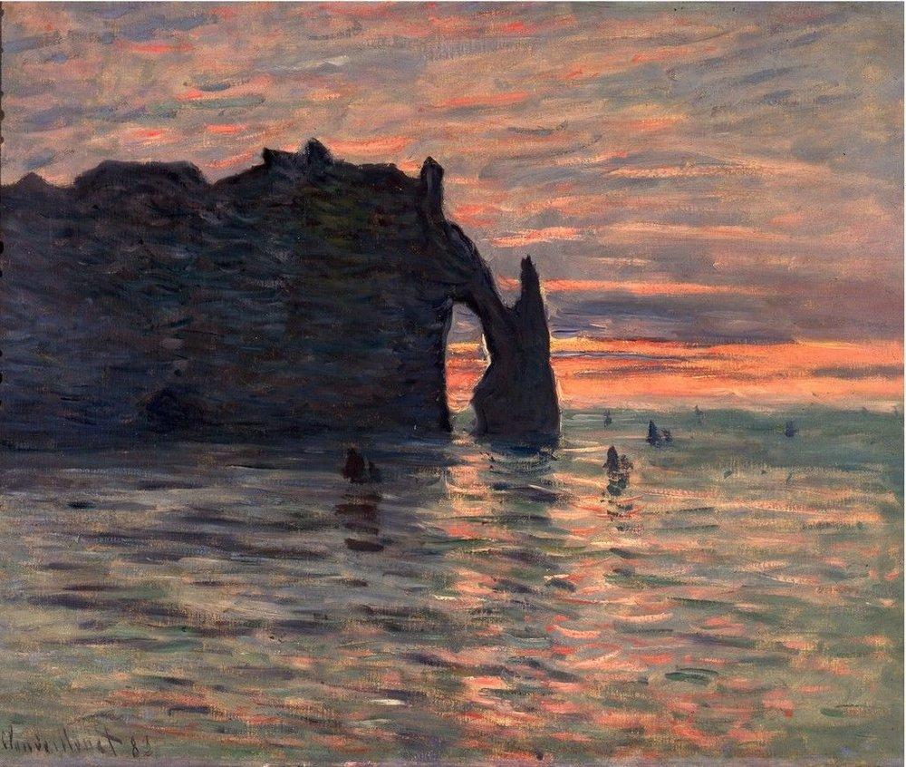 ARTSY / Claude Monet -  Sunset at Étretat,  1883