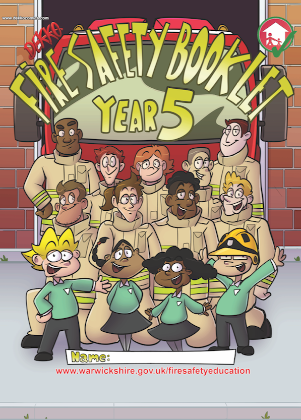 - Front Cover of a comic made for Warwickshire Fire Service to explain Fire Safety to school pupils.