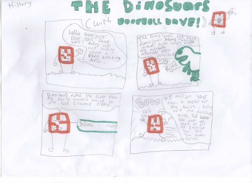 This is an educational comic about History that Zach (age 14) sent in to us. He even made his own character: 'Doorbell Dave'!