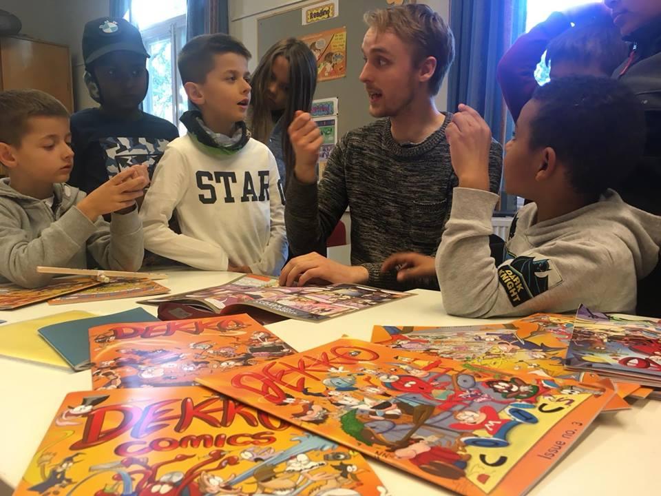 Giving a workshop with the kids of Kielo International School, Finland.