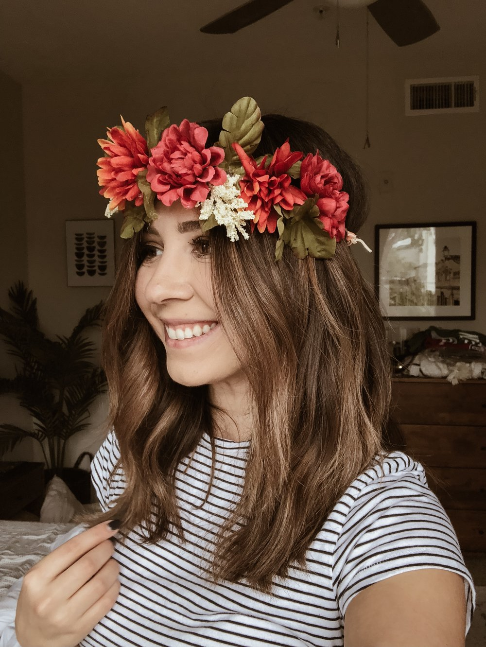 How to make your own flower crown the letter petite diy flower crown day of the dead the izmirmasajfo