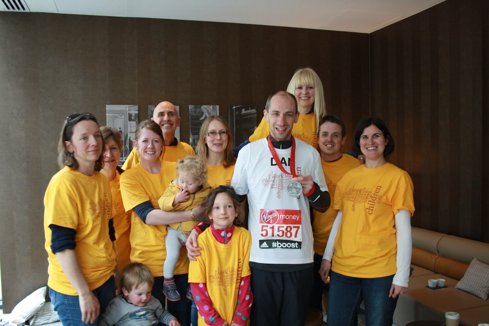 Dan with friends & family after completing the 2015 Virgin Money London Marathon.
