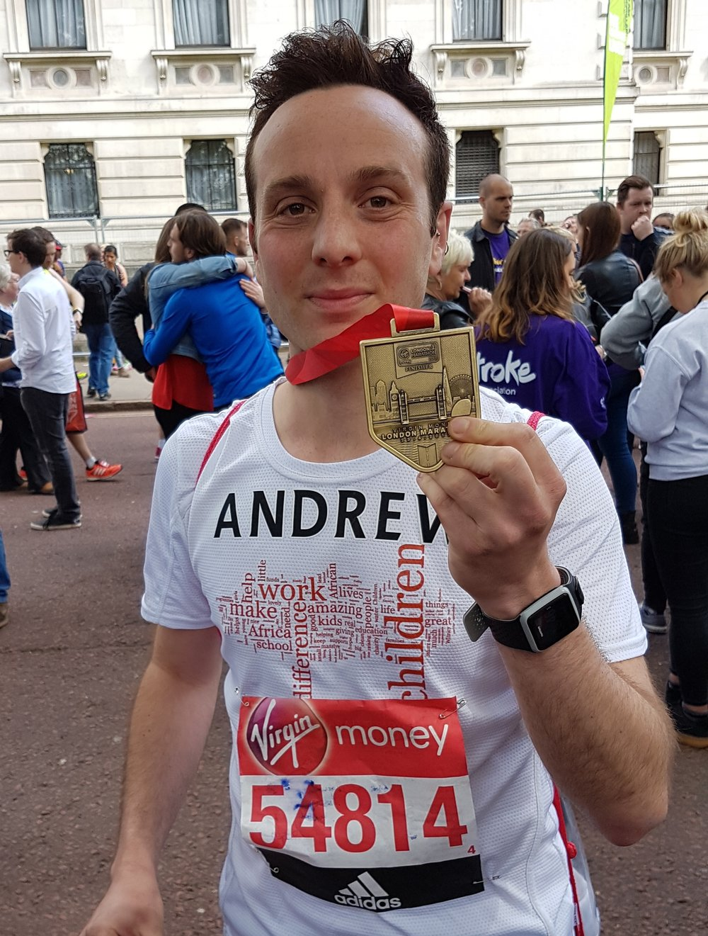 Andrew with his finisher's medal from the 2017 Virgin Money London Marathon.