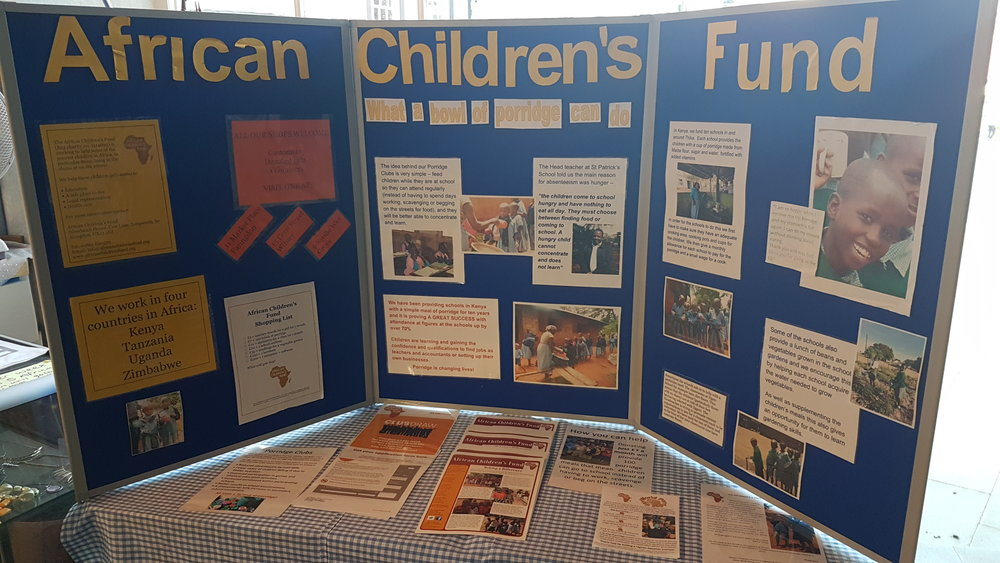 African Children's Fund display boards & literature with lots of facts and photographs about our Kenyan Porridge Clubs.