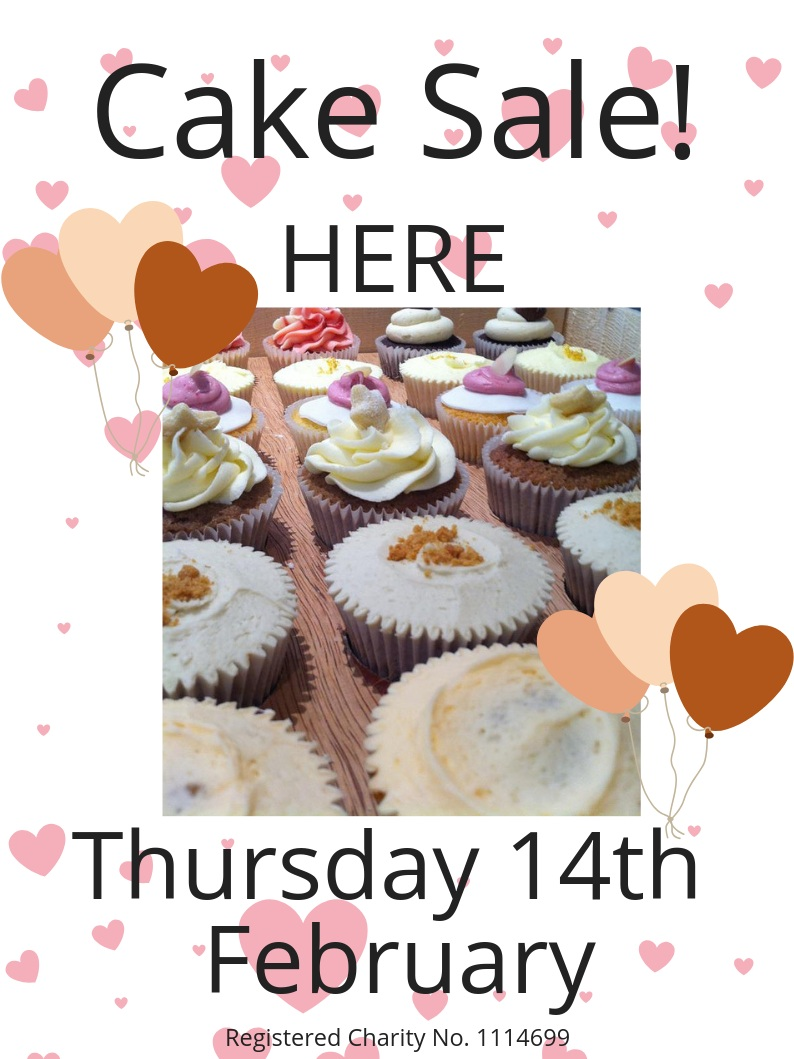 Colour poster featuring images of hearts & balloons to advertise the Witney Valentine's Day cake sale.