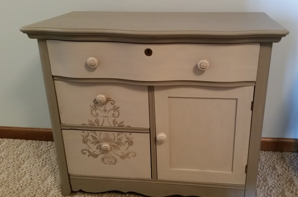 Brenda Dresser - Description ~ the perfect size for a coffee bar! Open the drawer to display stir ins!Quantity ~ 1Rental Price ~ $30