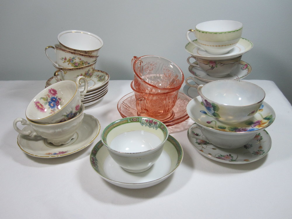Teacups & Saucers - Description ~ A large assortment of matching cups & saucers that can complement the china and can be used to serve tea of coffee.Quantity ~ 300Price ~ .75
