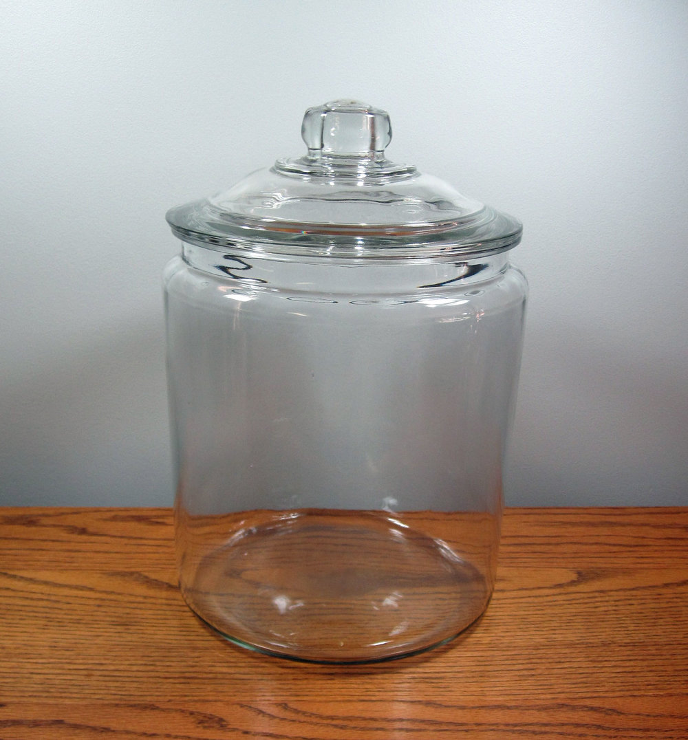 Glass Jar - Description ~ holds 2 1/2 gallons of liquid or used for candy bar, favors and moreQuantity ~ 6Rental Price ~ $6