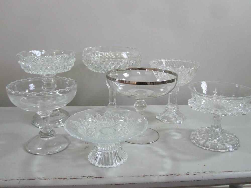 Compote Dishes - Description ~ smaller pedestal bowls that are great for candy bars, toppings, dressing...QuantityRental Price ~ $2-$4
