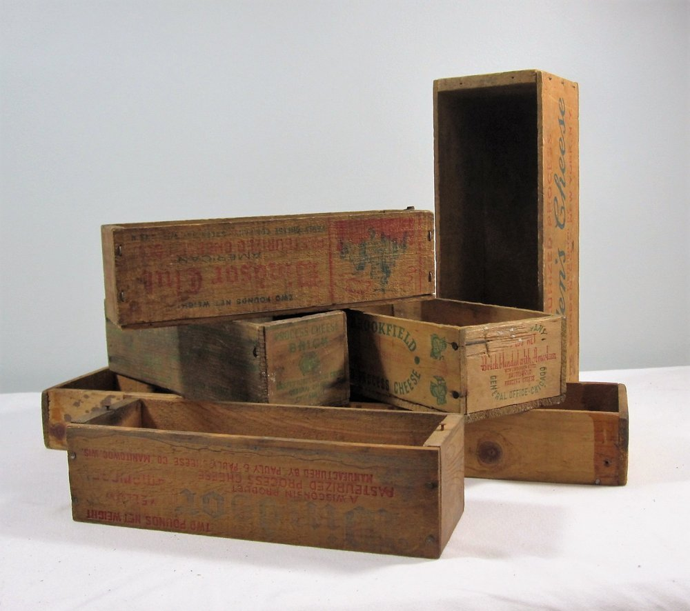 Wooden Boxes - Description ~old boxes that held cheese or seeds or ?? help create levels or contain bottles of flowers, favors or whatever you like!Quantity ~ 20Rental Price ~ $2
