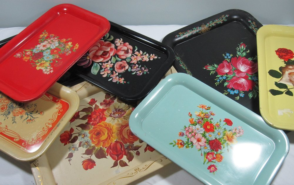 50's Metal Trays - Description ~ variety of florals and rectangular sizes add color as a base to your display or to serve hors d' oeuvres or dessertQuantityRental Price ~ .50-$2
