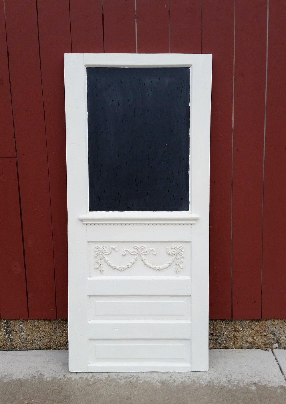 Chalkboard Door - Description ~ decorative door with chalkboard insert that can be used for signs, to display menu or many other thoughtsQuantity ~ 1Price ~ $25