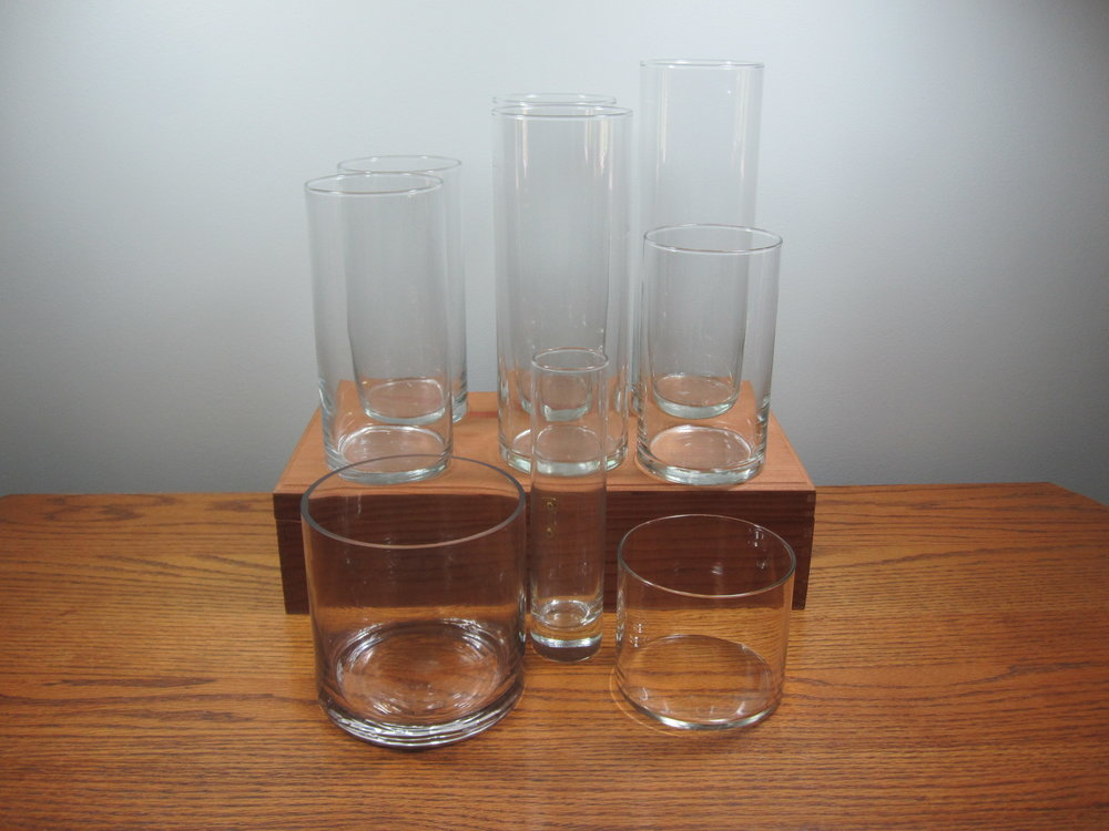 "Cylinder Vases - Description ~ varied heights from 3"" - 12""Quantity ~ 100+Price ~ $1 - $3"