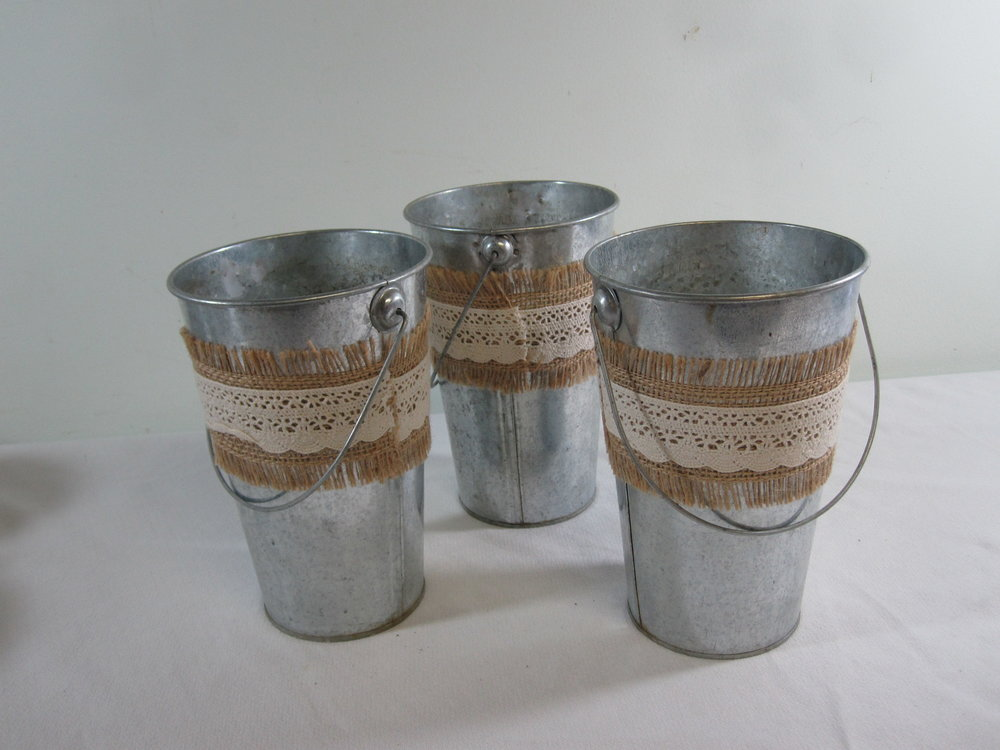 "Galvanized Buckets - Description ~ 4.5"" x 7"" tall; with or without burlap wrapQuantity ~ 18Price ~ $2"