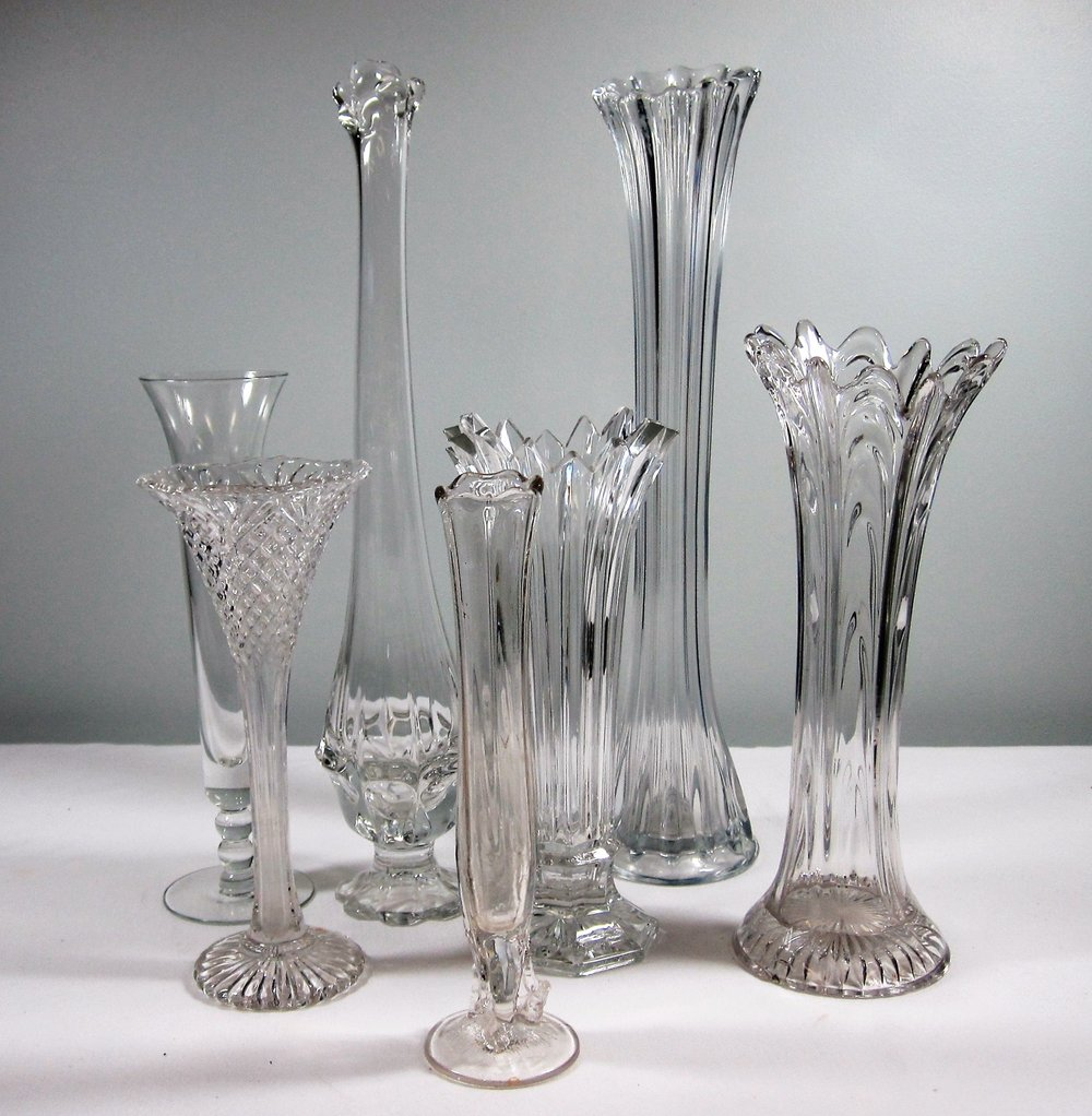 "Vases - Description ~ ""flare top"" vasesQuantity ~ 10Price ~ $3 - $6"